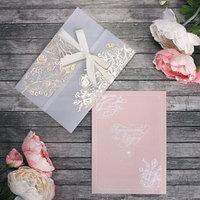 Свадебное приглашение с калькой 'Цветы', с тиснением, 13 х 18 см