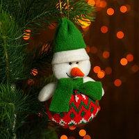 Подвеска 'Дед Мороз и Снеговик', зелёный колпак, виды МИКС