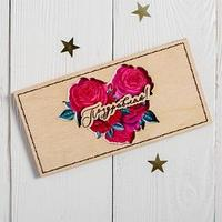 Конверт для денег с деревянным элементом 'Поздравляю!' цветы, сердце, 16,5 х 8 см (комплект из 5 шт.)
