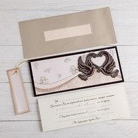Деревянная открытка-приглашение 'Свадебная' конгрев, накладной элемент, голуби