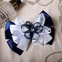 Резинка для волос бант 'Школьница' 13 см, ленты и страз, бело-синий (комплект из 6 шт.)