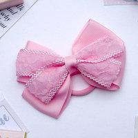 Резинка для волос бант 'Умница' с кружевной лентой, розовый (комплект из 6 шт.)