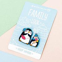 Набор значков для мамы и ребенка 'Пингвины' 8 х 12 см