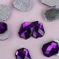 Стразы термоклеевые 'Прямоугольник', 8 x 10 мм, 50 шт, цвет фиолетовый
