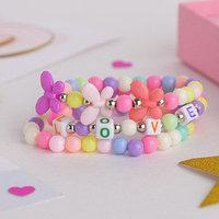 Набор детских браслетов 'Выбражулька' 3шт, бабочки и буквы, цветные