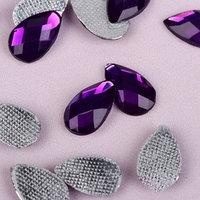 Стразы термоклеевые 'Капля', 8 x 13 мм, 50 шт, цвет фиолетовый