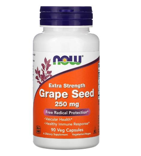 Now Foods, виноградная косточка усиленного действия, 250 мг, 90 растительных капсул