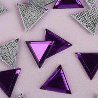 Стразы термоклеевые 'Треугольник', 10 x 10 мм, 50 шт, цвет фиолетовый