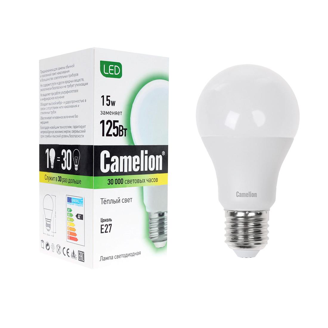Эл. лампа светодиодная Camelion LED15-A60/830/E27, Тёплый