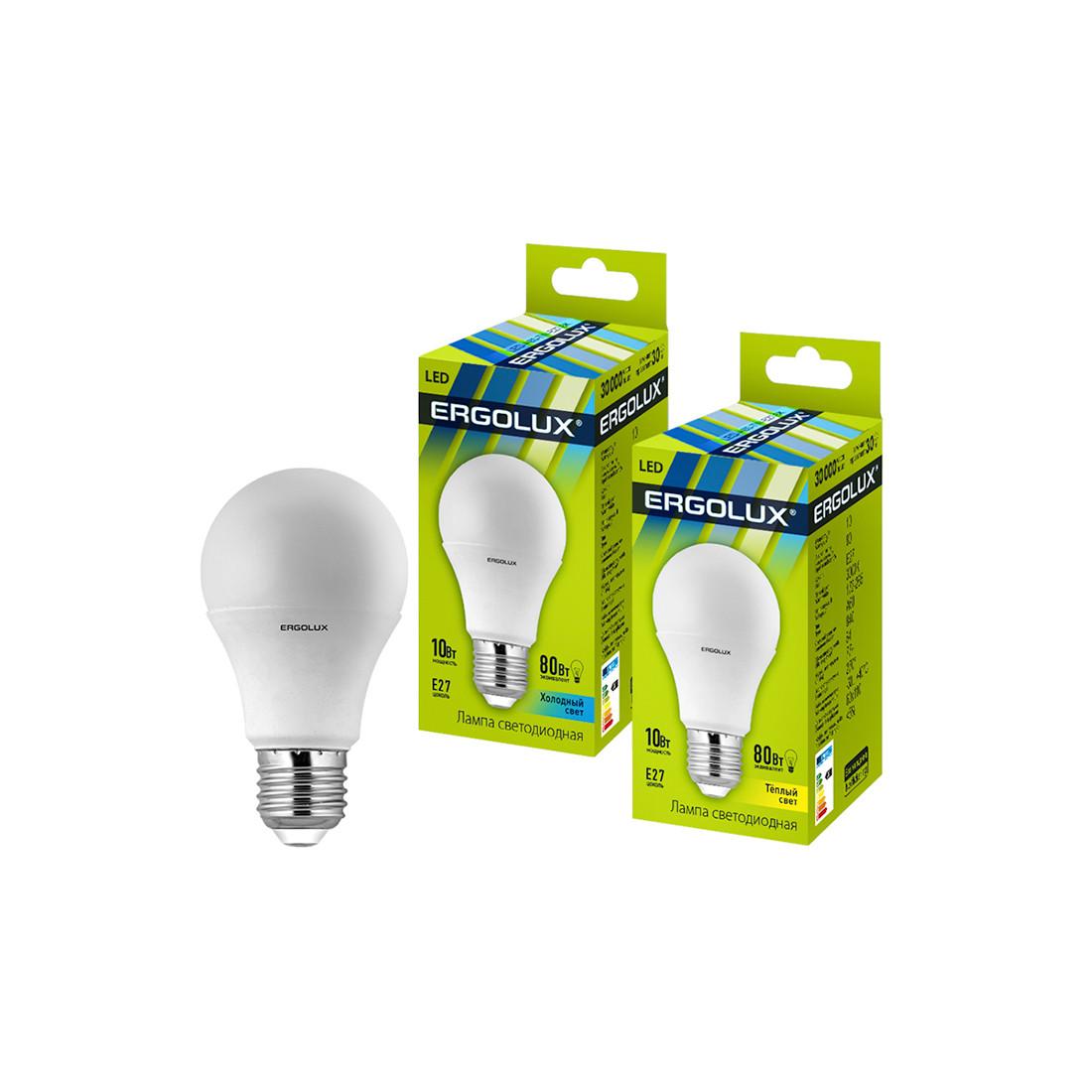 Эл. лампа светодиодная Ergolux LED-A60-10W-E27-4K, Холодный