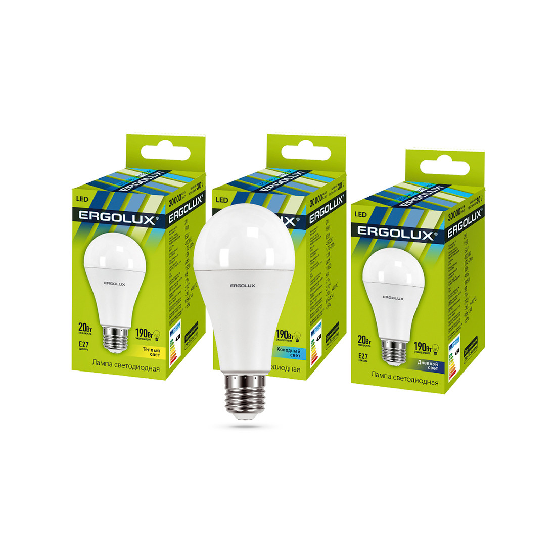 Эл. лампа светодиодная Ergolux LED-A65-20W-E27-3K, Тёплый