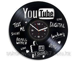 Настенные часы из пластинки, YouTube, подарок блогерам, ютуберам, 0538