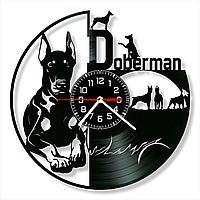 Настенные часы пластинки, собака Доберман, подарок владельцам, фанатам, любителям, 0226
