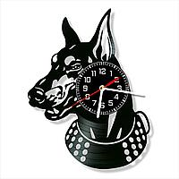 Настенные часы пластинки, собака Доберман, подарок владельцам, фанатам, любителям, 0065