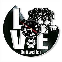 Настенные часы из пластинки собака Ротвейлер, подарок владельцам, фанатам, любителям, 0028