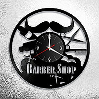 Настенные часы из пластинки, BarberShop барбершоп, подарок барберу, парикмахеру, 0188