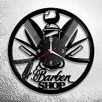 Настенные часы из пластинки, BarberShop барбершоп, подарок барберу, парикмахеру, 0186