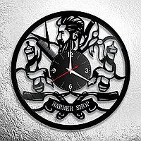 Настенные часы из пластинки, BarberShop барбершоп, подарок барберу, парикмахеру, 0189