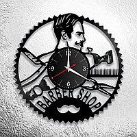 Настенные часы из пластинки, BarberShop барбершоп, подарок барберу, парикмахеру, 0190