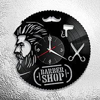 Настенные часы из пластинки, BarberShop барбершоп, подарок барберу, парикмахеру, 0191