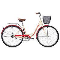 """Велосипед FOXX 28"""" VINTAGE бежевый, сталь, размер 18"""" + передняя корзина"""