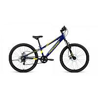 """Велосипед FORWARD RISE 24 2.0 disc (24"""" 7 ск. рост 11"""") 2020-2021, темно-синий/желтый, RBKW1J347011"""