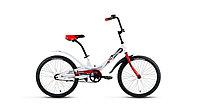 """Велосипед FORWARD SCORPIONS 20 1.0 (20"""" 1 ск. рост 10.5"""") 2020-2021, белый/красный, RBKW15N01003"""