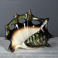 "Ваза настольная ""Ракушка"" зелёная, 20 см, керамика"