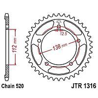 Звезда задняя, ведомая JT 1316 Honda CBR500'15
