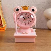 Часы-будильник детские 'Царевна-Лягушка',с подсветкой, с ручкой, 1АА, дискретный ход, розов.