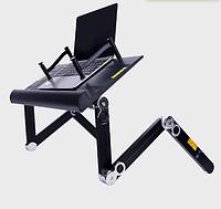 Стол-трансформер прикроватный и накроватный для ноутбука с кулером и фиксаторами для книг