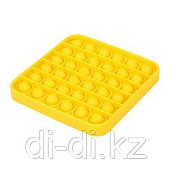 Pop it Fidget Сенсорная игрушка антистресс Вечная пупырка, желтый квадрат