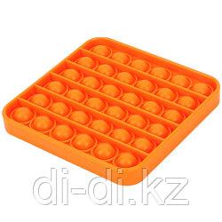 Pop it Fidget Сенсорная игрушка антистресс Вечная пупырка, оранжевый квадрат