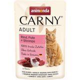 Animonda 85г с говядиной, индейкой и креветками Пауч для взрослых кошек Carny Adult beef, turkey + shrimps