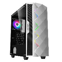 Корпус ПК без БП GameMax White Diamond ATX, 1x120ARGB, 3.5* (HDD)x2, 2.5* (SSD)x2, USB2.0x1, USB3.0x1, HD