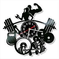 Настенные часы Штанга гантель гиря, подарок подарок фитнес тренеру, инструктору, фитнес центр, 1534