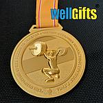 Медаль металлическая золото с лентой, фото 2