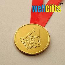 Медаль металлическая золото с лентой