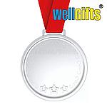 Медаль металлическая серебро с лентой, фото 2