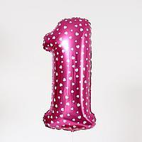 """Шар фольгированный 40"""" Цифра 1, сердца, индивидуальная упаковка, цвет розовый"""