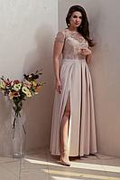 Женское осеннее кружевное бежевое нарядное платье Condra 4210 светлый_бежевый 52р.