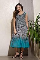 Женское летнее хлопковое бирюзовое платье Condra 4323 бирюзовый-черный 52р.