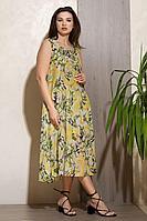 Женское летнее хлопковое желтое платье Condra 4323 желтый-зеленый 46р.