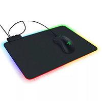 Коврик для для мышки клавиатуры и компьютеров игровой с RGB подсветкой 35х26 см Rasure lights черный