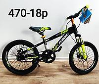Велосипед Phoenix на дисковых тормозах салатово - черный оригинал детский с холостым ходом 18 размер