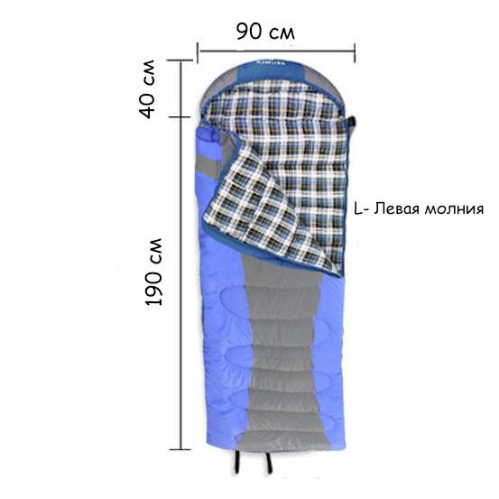 Спальный (туристический) мешок синтепоновый непромокаемый с левой молнией 230х90 см Mimir outdoor - фото 2