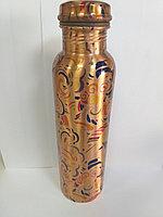 Медный сосуд, 1 литр, с крышкой на резьбе, Индия, ручной работы