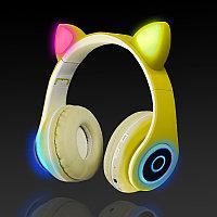 Беспроводные наушники стерео Bluetooth с микрофоном LED цветовой подсветкой и радио складные Cat Ear Желтый