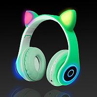 Беспроводные наушники стерео Bluetooth с микрофоном LED цветовой подсветкой и радио складные Cat Ear Зеленый