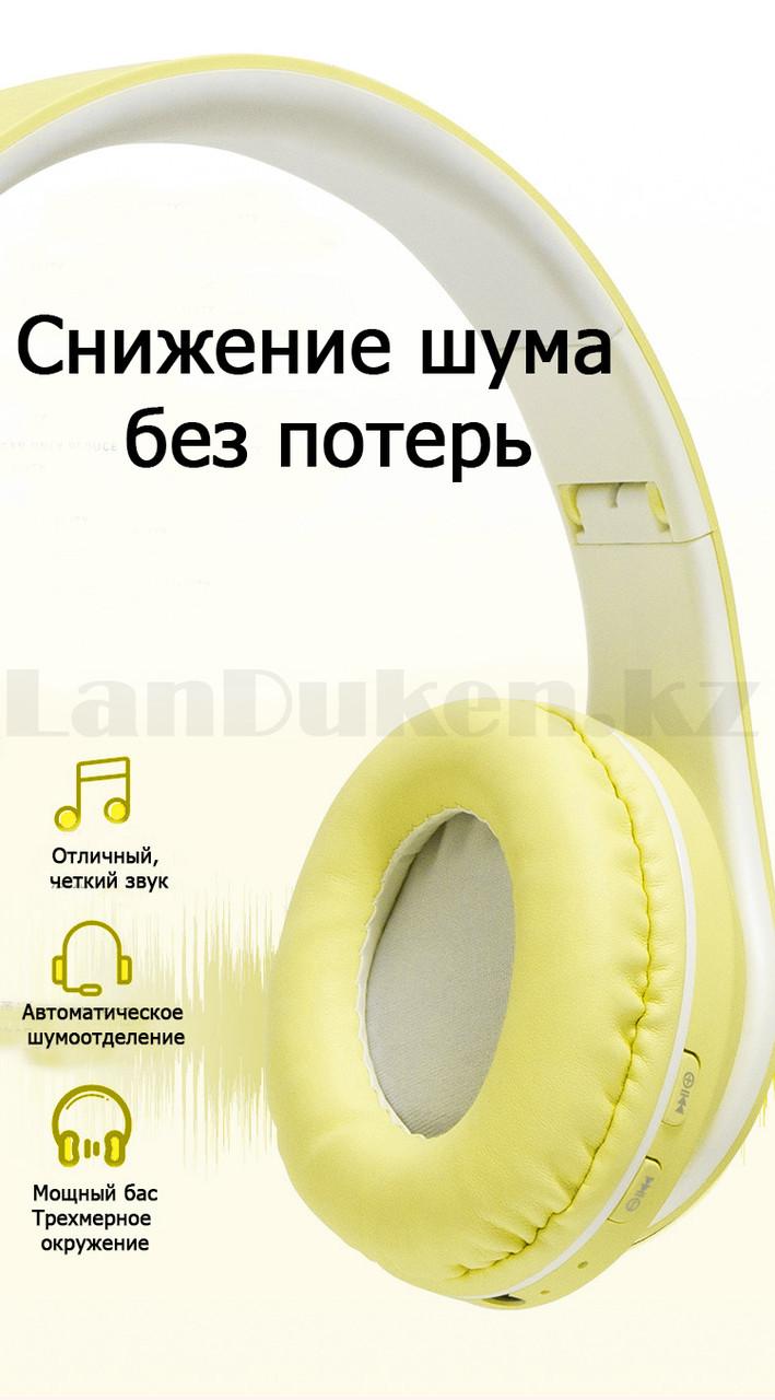 Беспроводные наушники стерео Bluetooth с микрофоном LED цветовой подсветкой и радио складные Cat Ear - фото 6